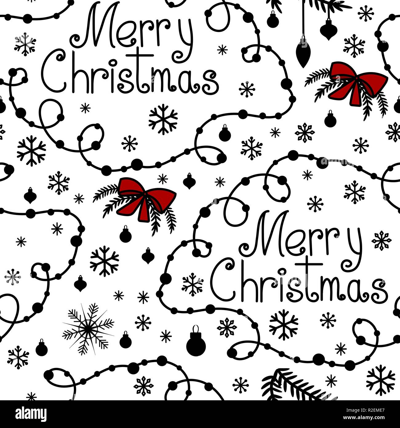 merry christmas background with hand drawn text  swirls and snowflakes  hand drawn doodle style