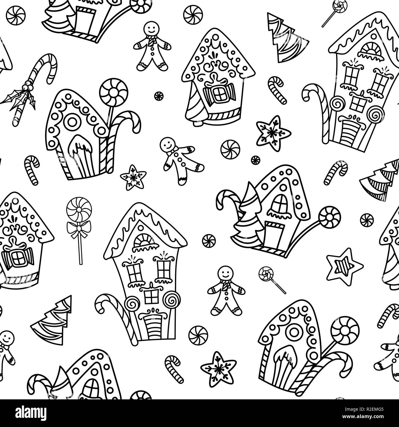 Christmas seamless pattern with gingerbread house candy canes and lollipops hand drawn doodle style black and white vector illustration