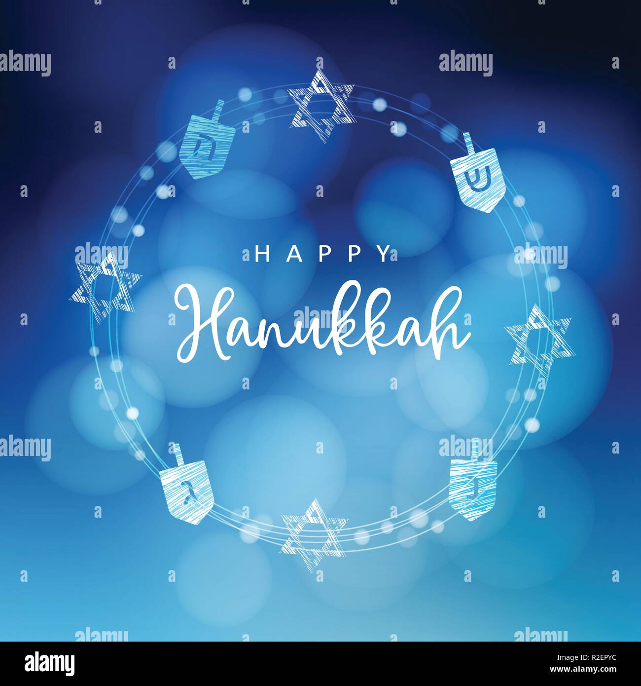 Hanukkah blue background with wreath of light, Jewish stars and dreidels. Festive party decoration. Modern blurred vector illustration for Jewish Festival of light. - Stock Vector