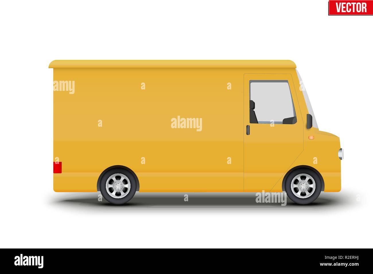 Retro yellow postal van minibus - Stock Image