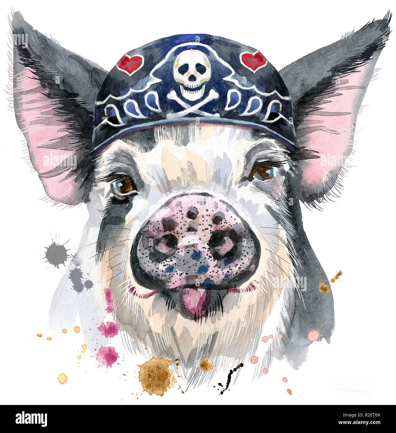 Cute piggy wearing biker bandana. Pig for T-shirt graphics. Watercolor pig in black spots illustration - Stock Image