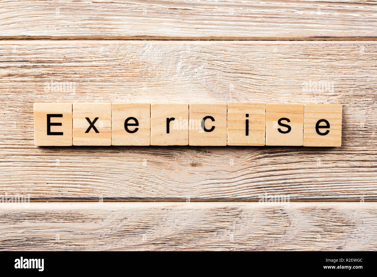 Exercise Word Written On Wood Block Exercise Text On Table Concept Stock Photo Alamy