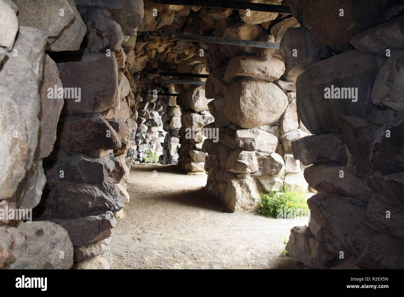 grotto in the park of schwerin Stock Photo