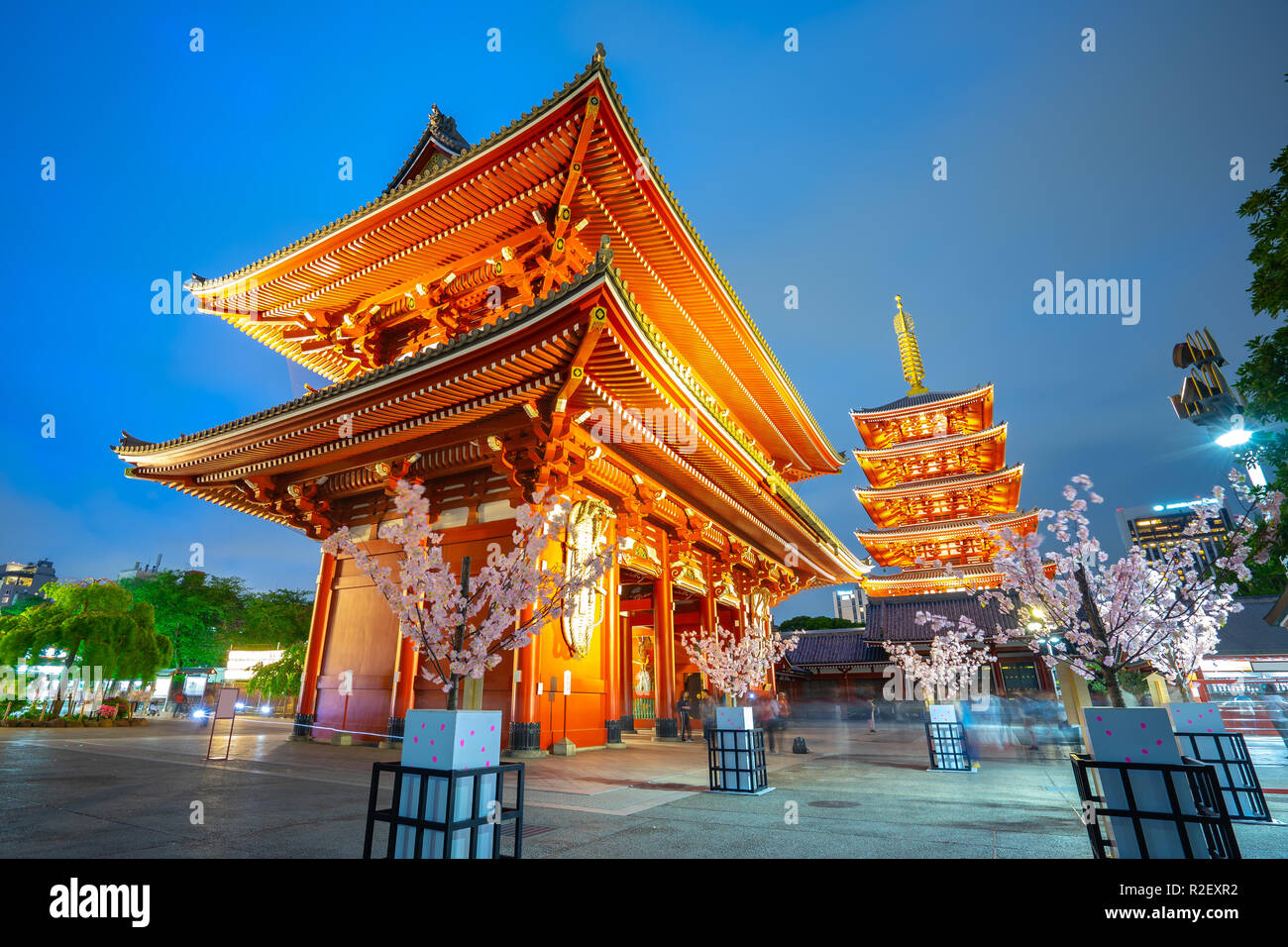 Sensoji Temple at night in Asakusa - Tokyo, Japan. - Stock Image