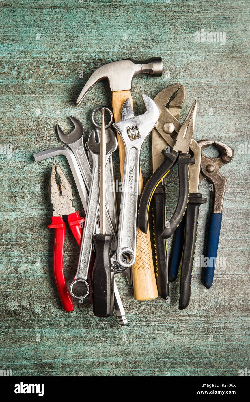 Set of tools. Hand tools for craftsmen. - Stock Image