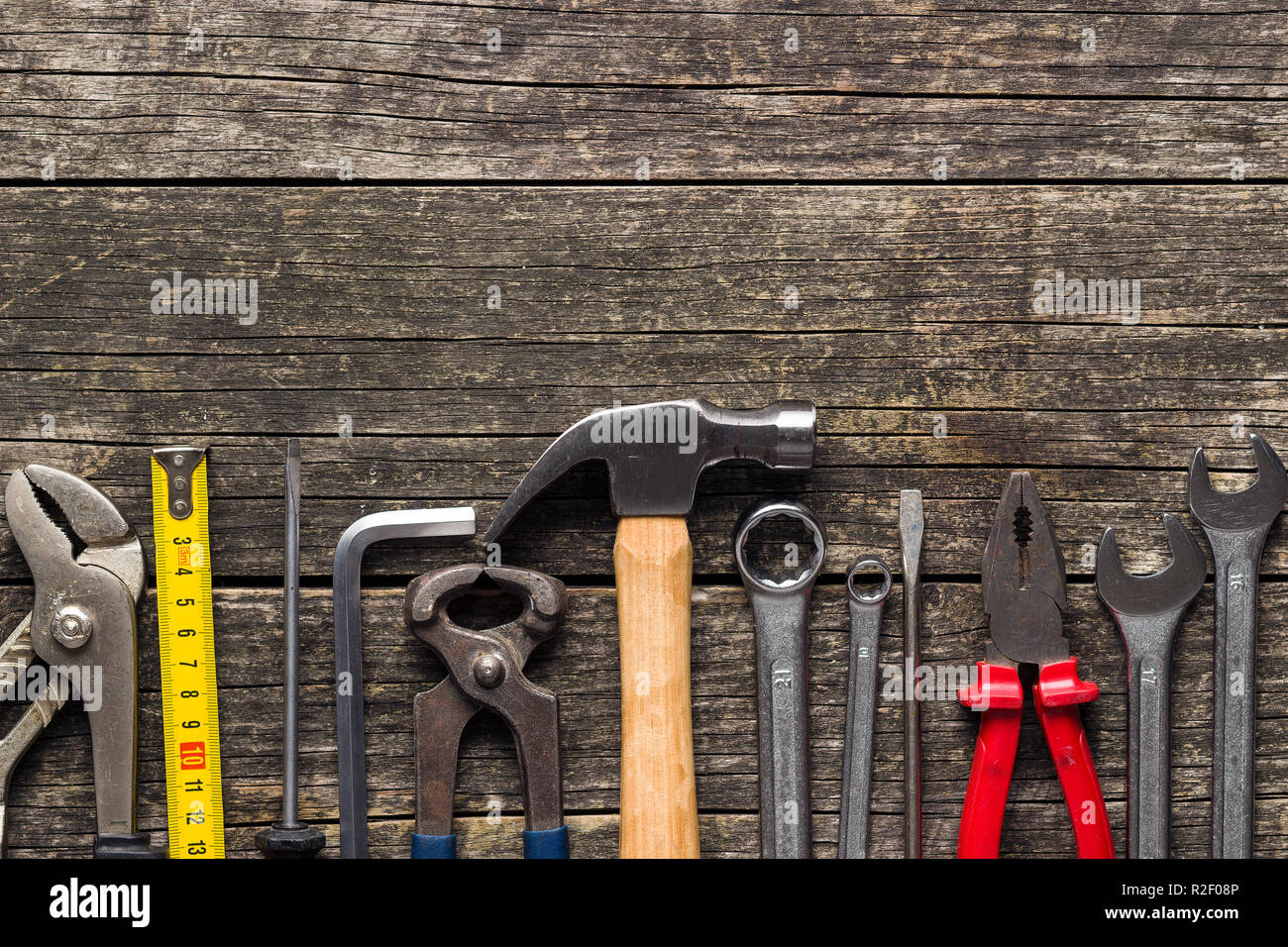 Set of tools. Hand tools for craftsmen. Top view. Flat view. - Stock Image
