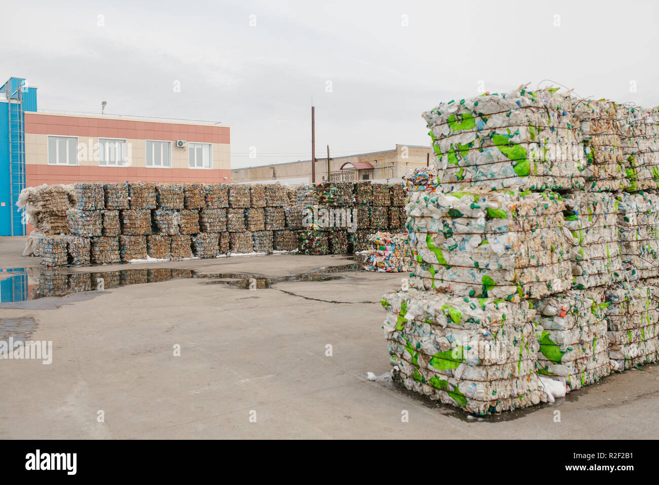 Storage of sorted waste at a waste processing plant for further processing and disposal. - Stock Image