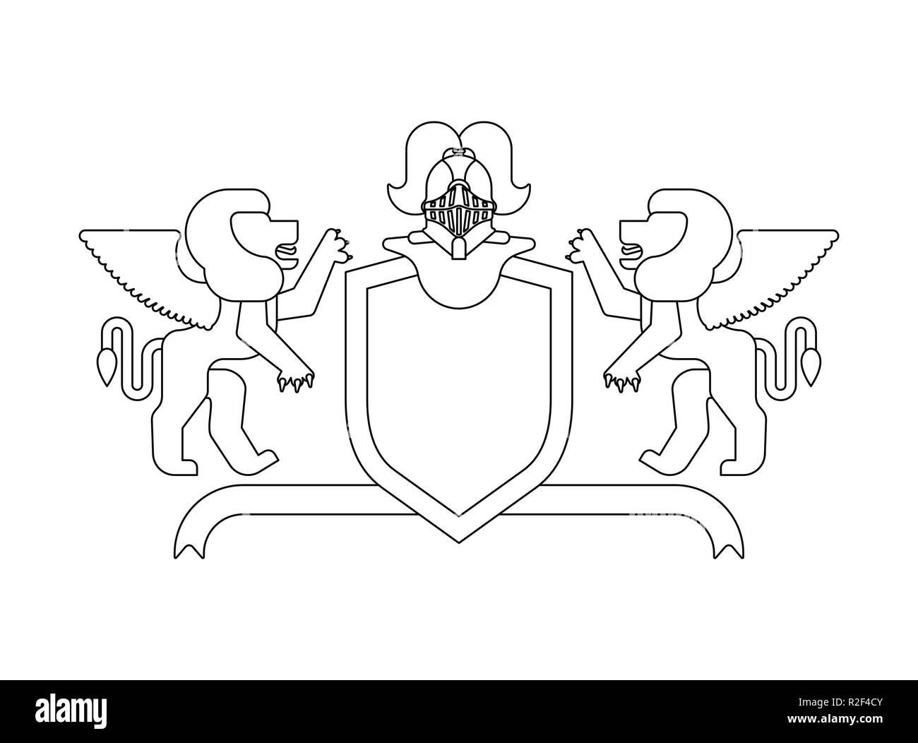 Heraldic Shield Winged Lion And Knight Helmet Fantastic Beasts Template Heraldry Design Element