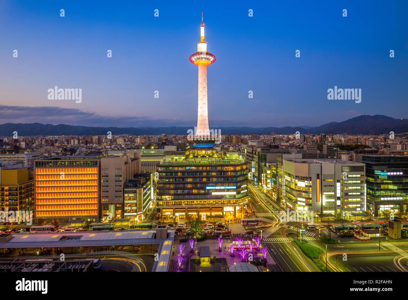 night view of the skyline of  kyoto, japan - Stock Image