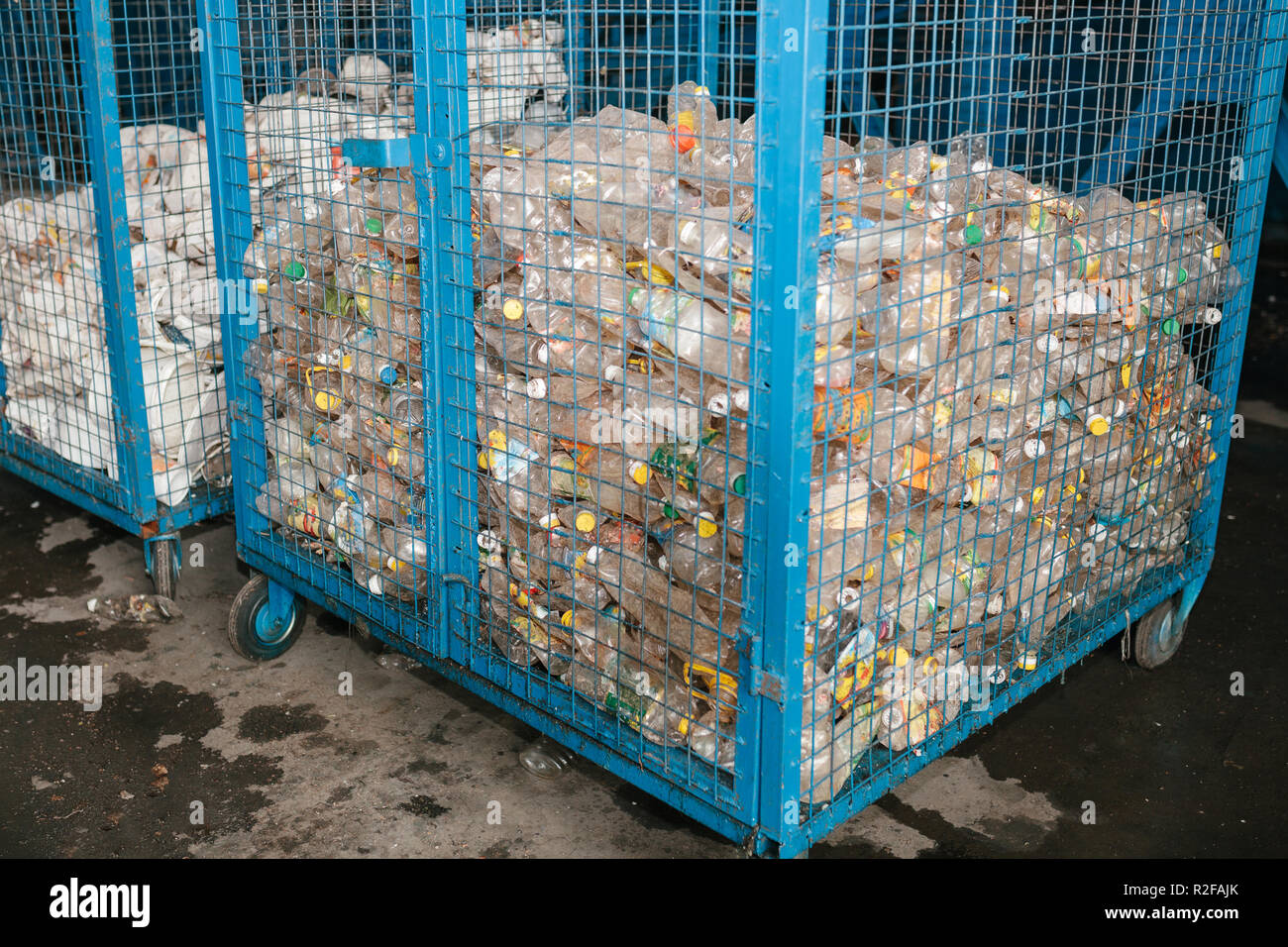 Storage of sorted waste at a waste processing plant for further processing and disposal. Plastic trash. - Stock Image