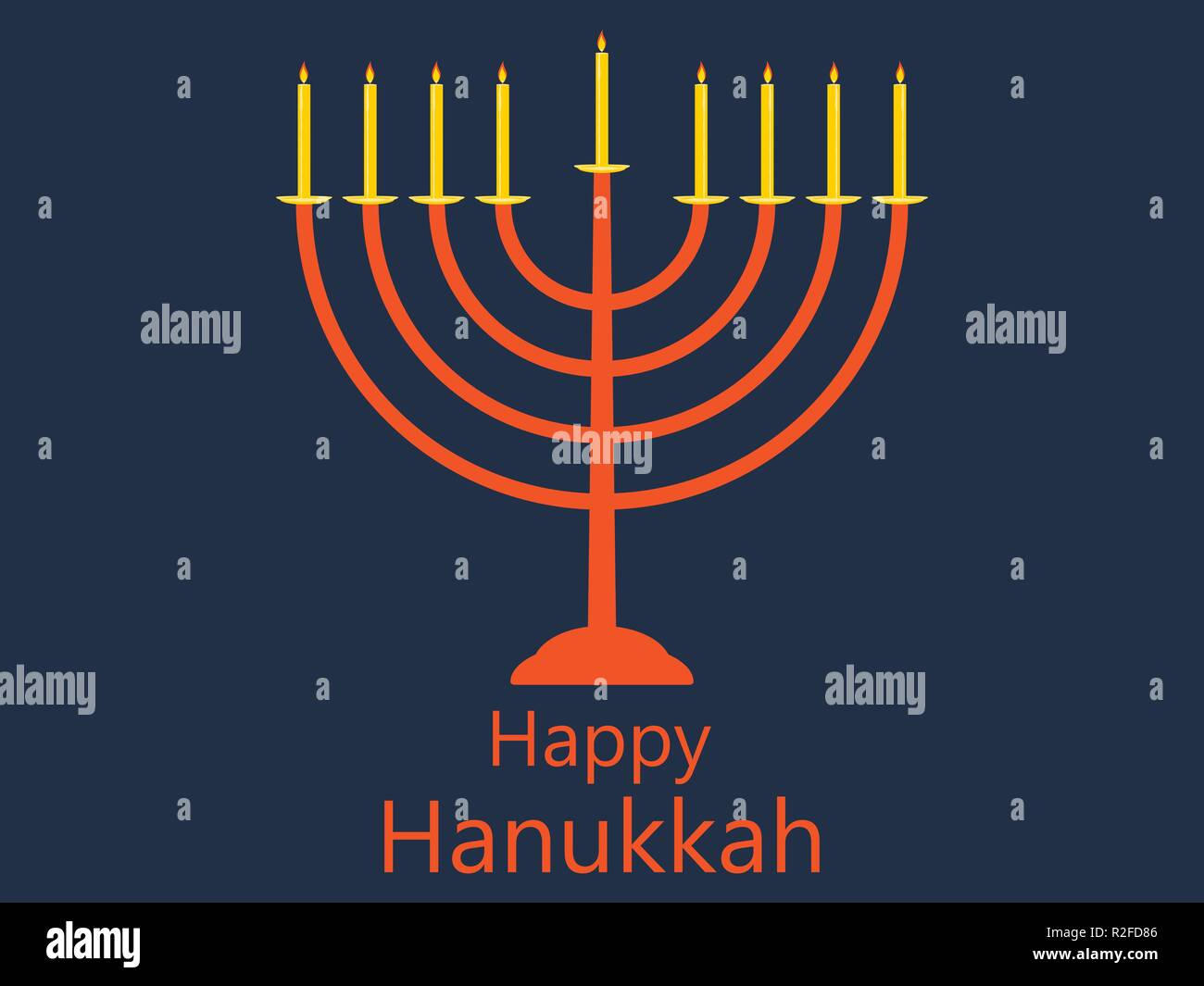 Happy hanukkah. Hanukkah candles. Menorah with nine candles. Vector illustration Stock Vector