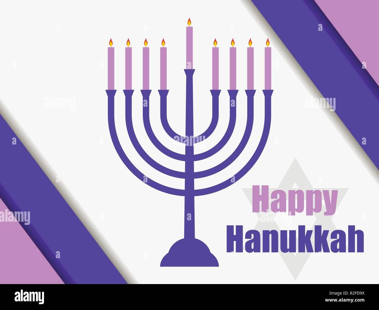 Happy hanukkah. Hanukkah candles. Menorah with nine candles. Vector illustration - Stock Vector