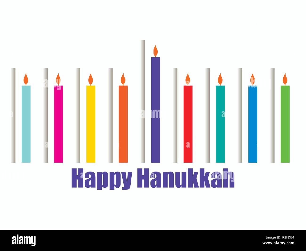 Happy hanukkah. Hanukkah candles. Menorah with nine candles. Paper cut style with shadow. Vector illustration - Stock Image