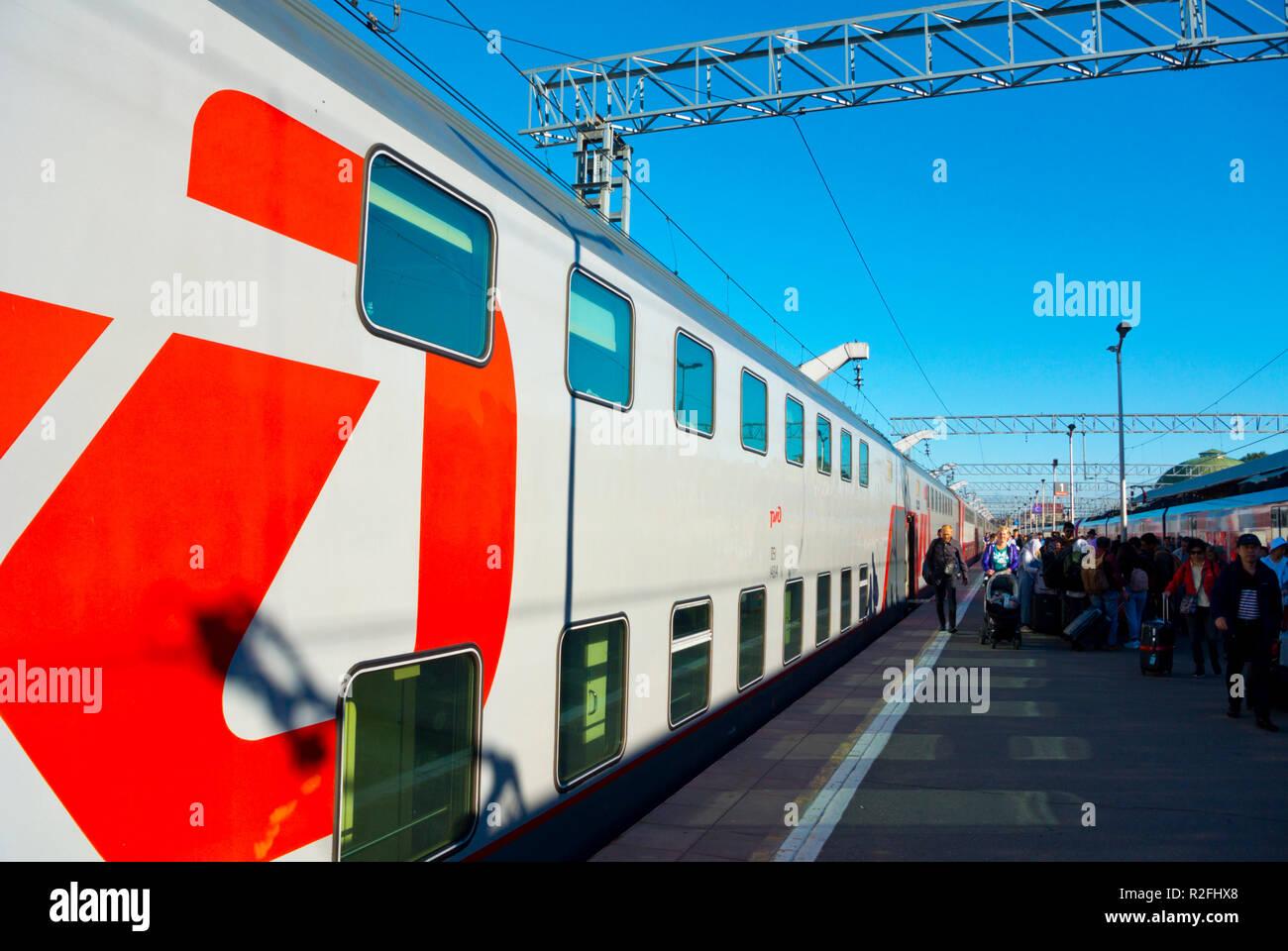 Leningradzky Vokzal, Leningrad railway station, Moscow, Russia - Stock Image