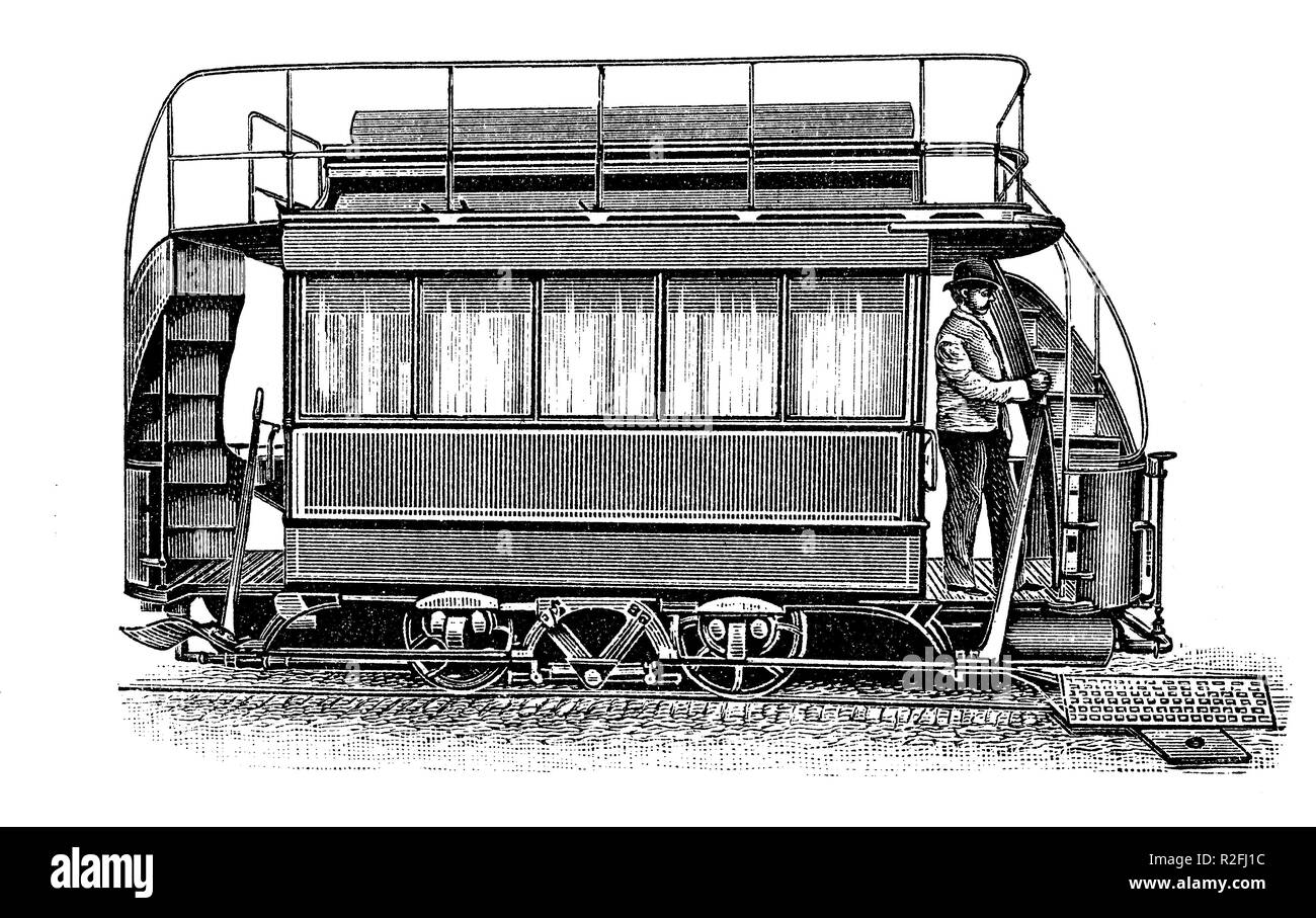 Digital improved reproduction, A pneumatic motor, air motor, or compressed air engine, compressed air tram at the filling station, from an original print from the 19th century - Stock Image