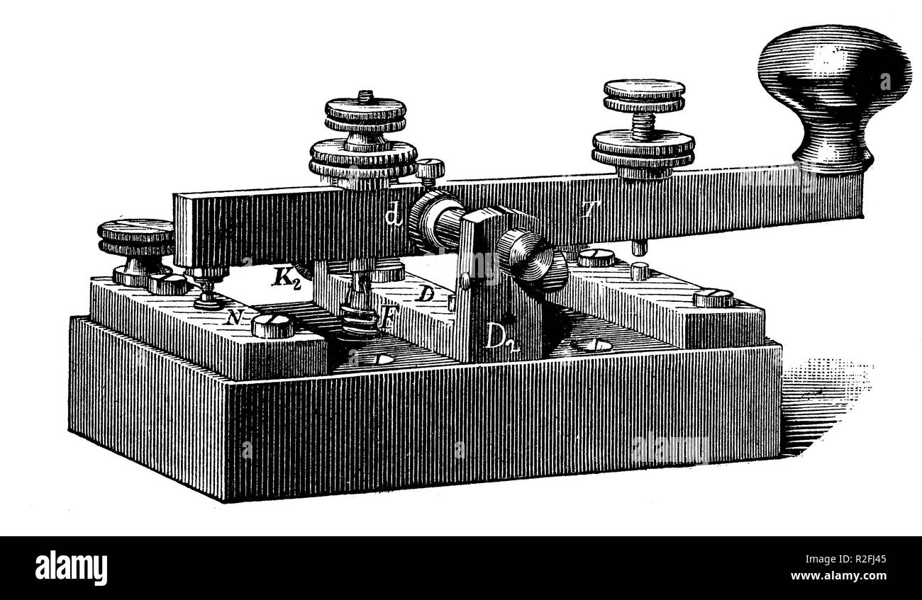 Digital improved reproduction, A telegraph key is a switching device used primarily to send Morse code, from an original print from the 19th century - Stock Image