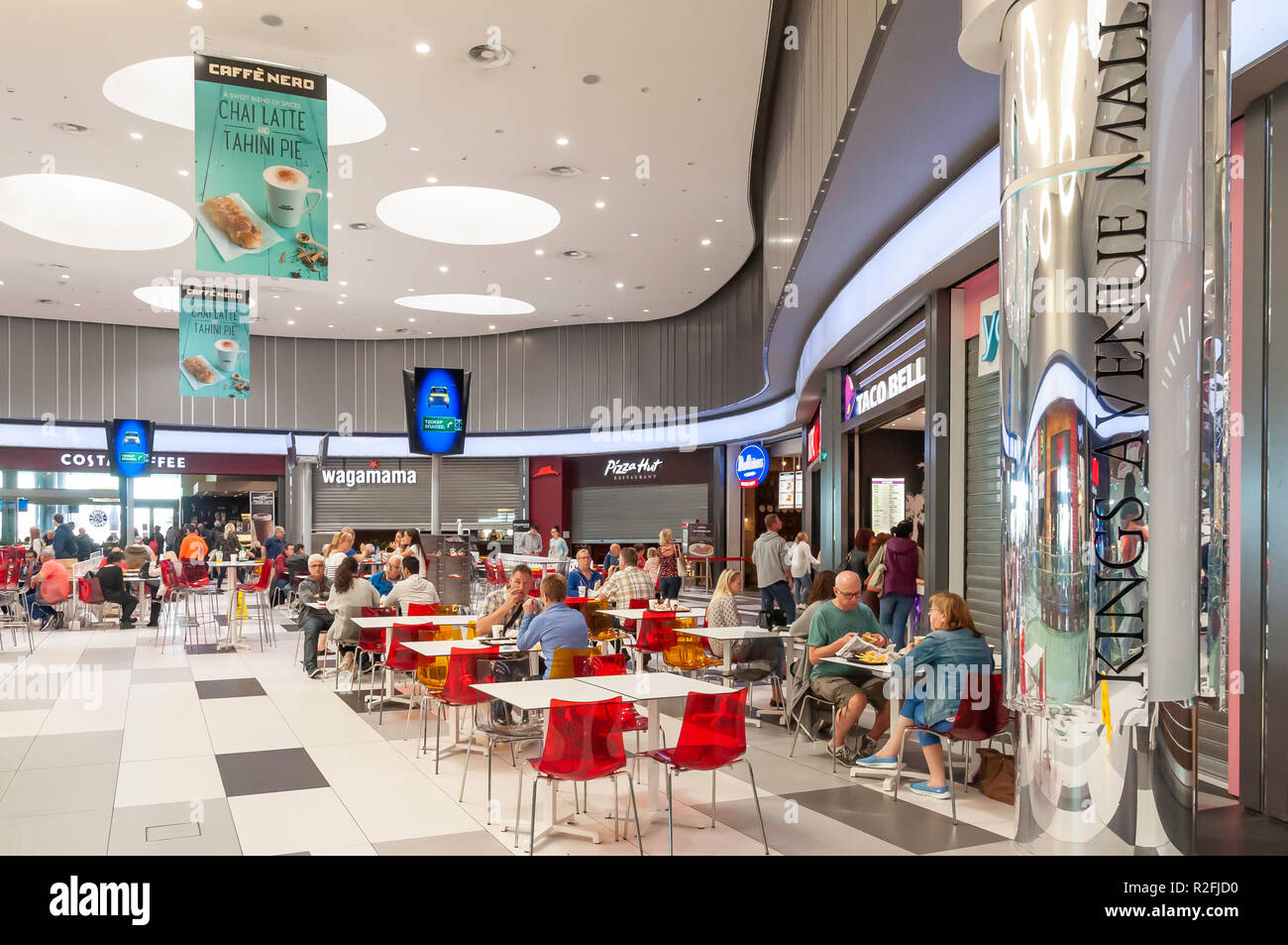 Food court in Kings Avenue Mall, Tombs of the Kings Avenue, Paphos (Pafos), Pafos District, Republic of Cyprus Stock Photo