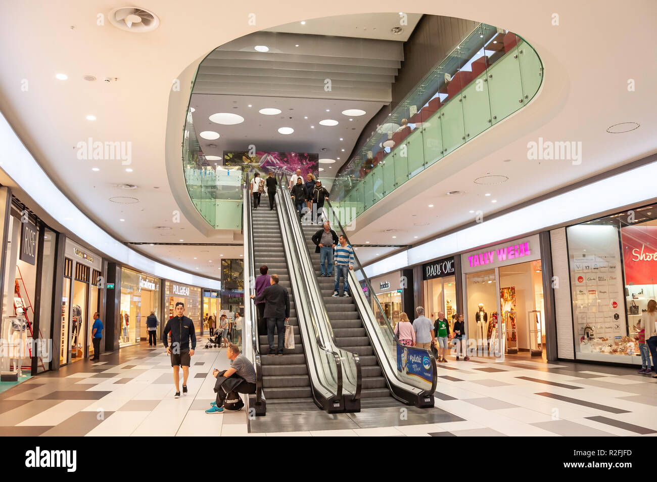 Escalators in Kings Avenue Mall, Tombs of the Kings Avenue, Paphos (Pafos), Pafos District, Republic of Cyprus Stock Photo