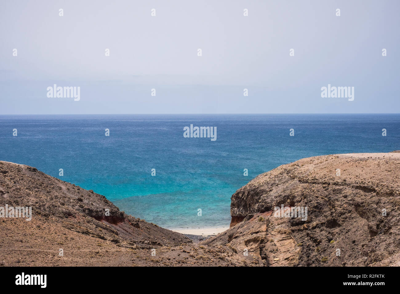 Hidden heavenly beach with nobody there in the south of fuerteventura. Jandia area. travel and discover incredible places concept - Stock Image