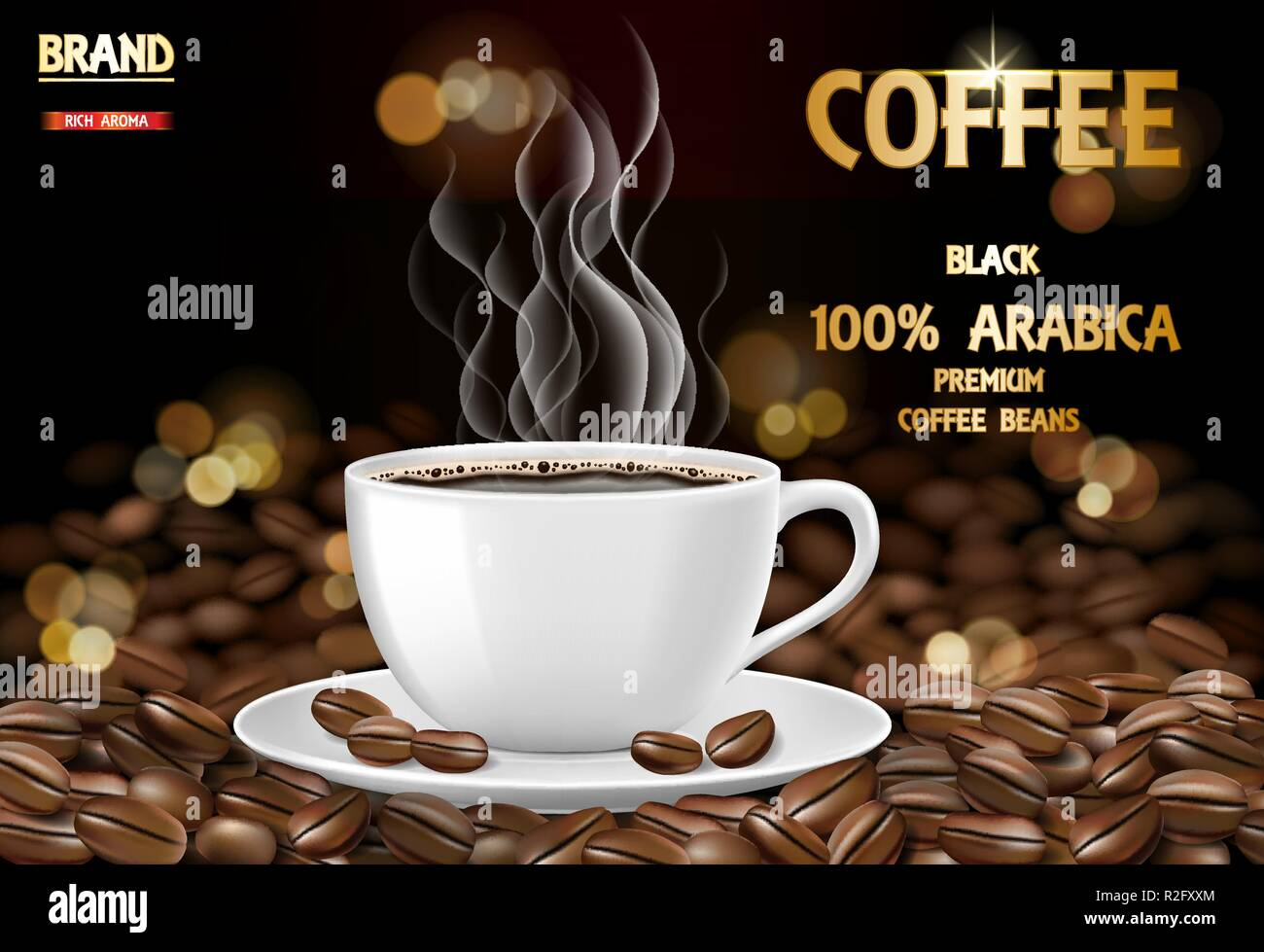 Arabica coffee cup with smoke and beans ads. 3d illustration of hot arabica coffee mug. Product package design background. Vector Stock Vector