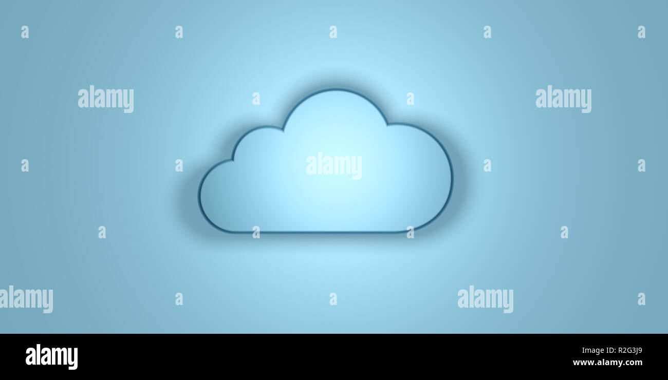 Cloud computing concept. Cloud illuminated, isolated on blue wall background. 3d illustration - Stock Image
