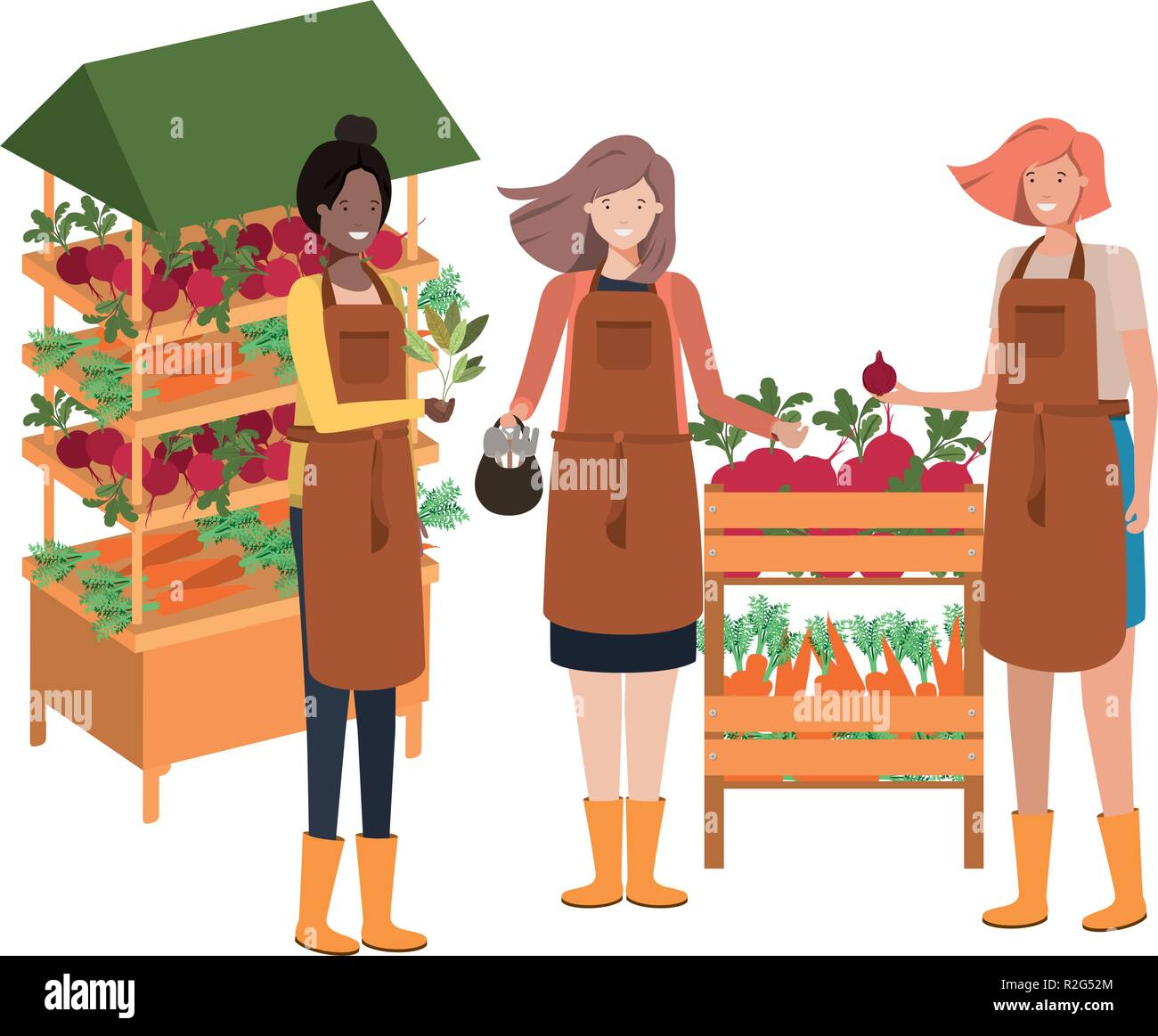 grup of people with kiosk avatar character - Stock Vector