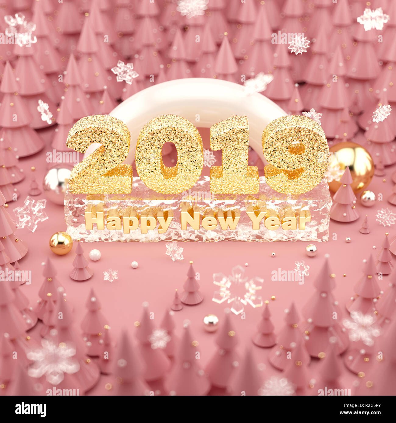 Happy New Year 2019 Rose Gold colored 3D illustration with Christmas trees. - Stock Image