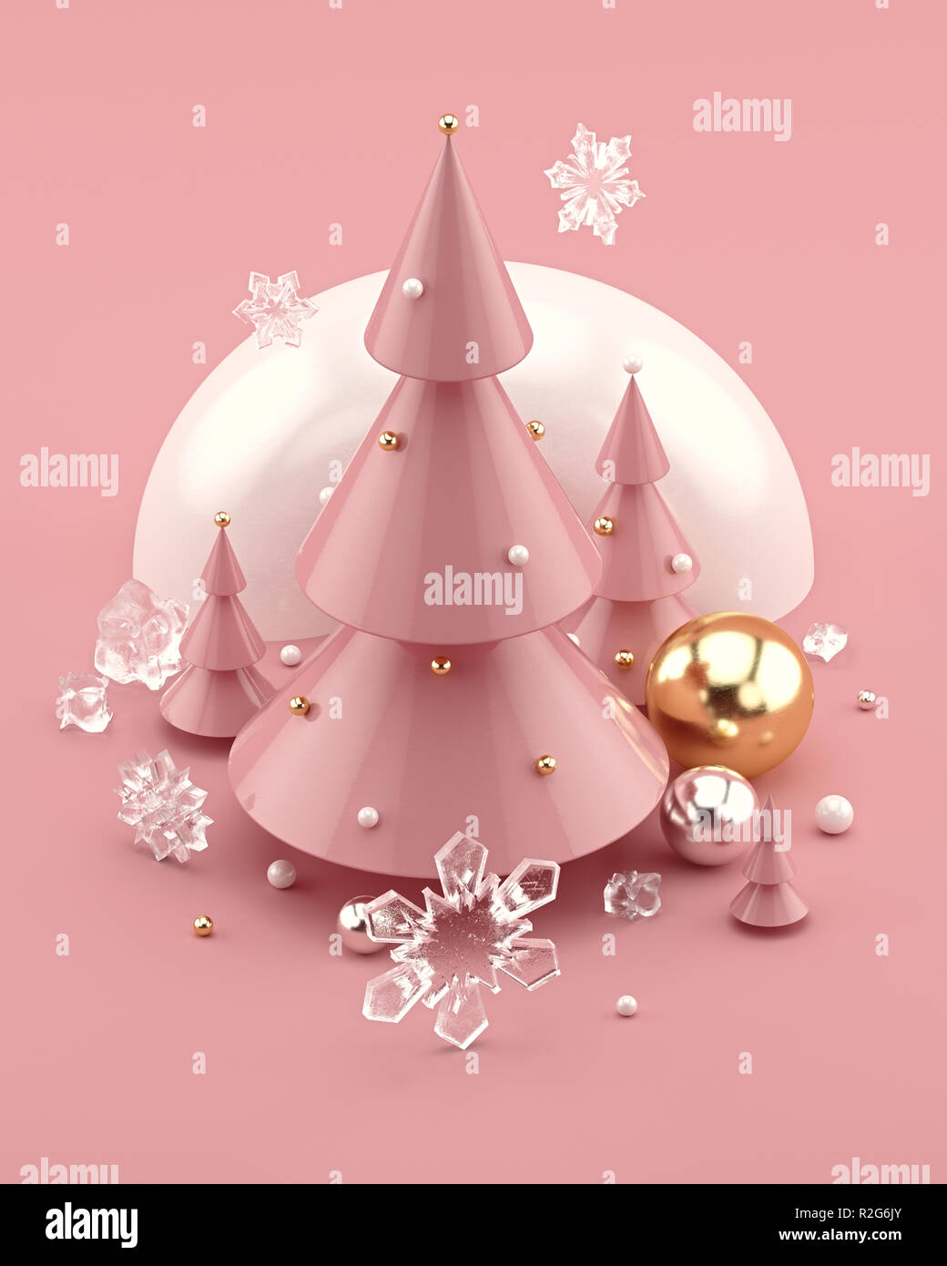 Rose Gold 3D illustration with decorated Christmas trees and snowflakes. - Stock Image