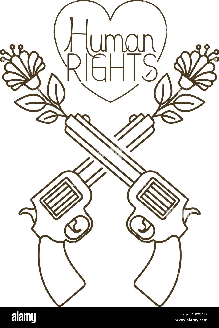 gun rights cut out stock images pictures alamy European Matchlock pistol with flower and human rights in heart with leaves isolated icon stock image