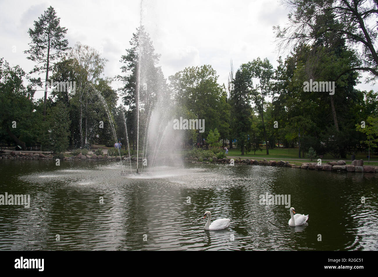 Fountain in public garden in Ciechocinek, Poland. September 3rd 2018 © Wojciech Strozyk / Alamy Stock Photo - Stock Image