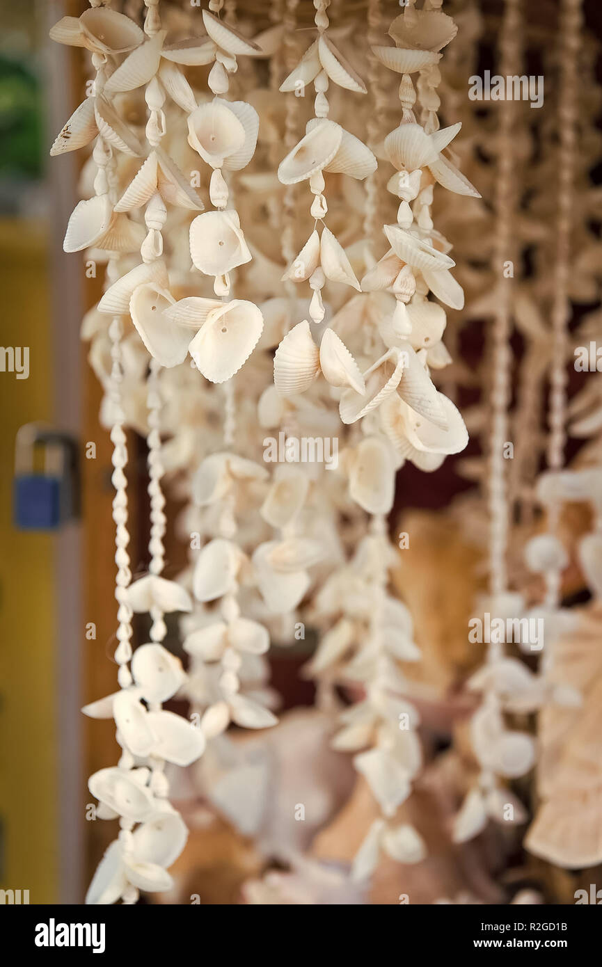 Shell necklaces hanging for sale in Key West, USA on blurred background. Jewelry and adornment. Souvenirs, gifts and presents. Summer vacation and holiday. Travel and traveling concept - Stock Image