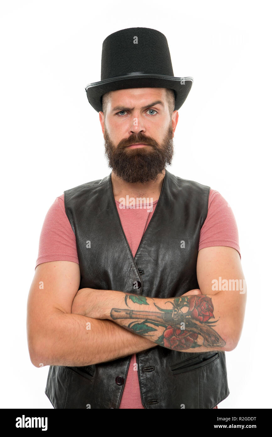 Fun with illusionist. Want some magic trick. Illusionist trick performance concept. Circus magic trick performance. Illusionist circus worker. Applause great artist. Man bearded strict illusionist. - Stock Image