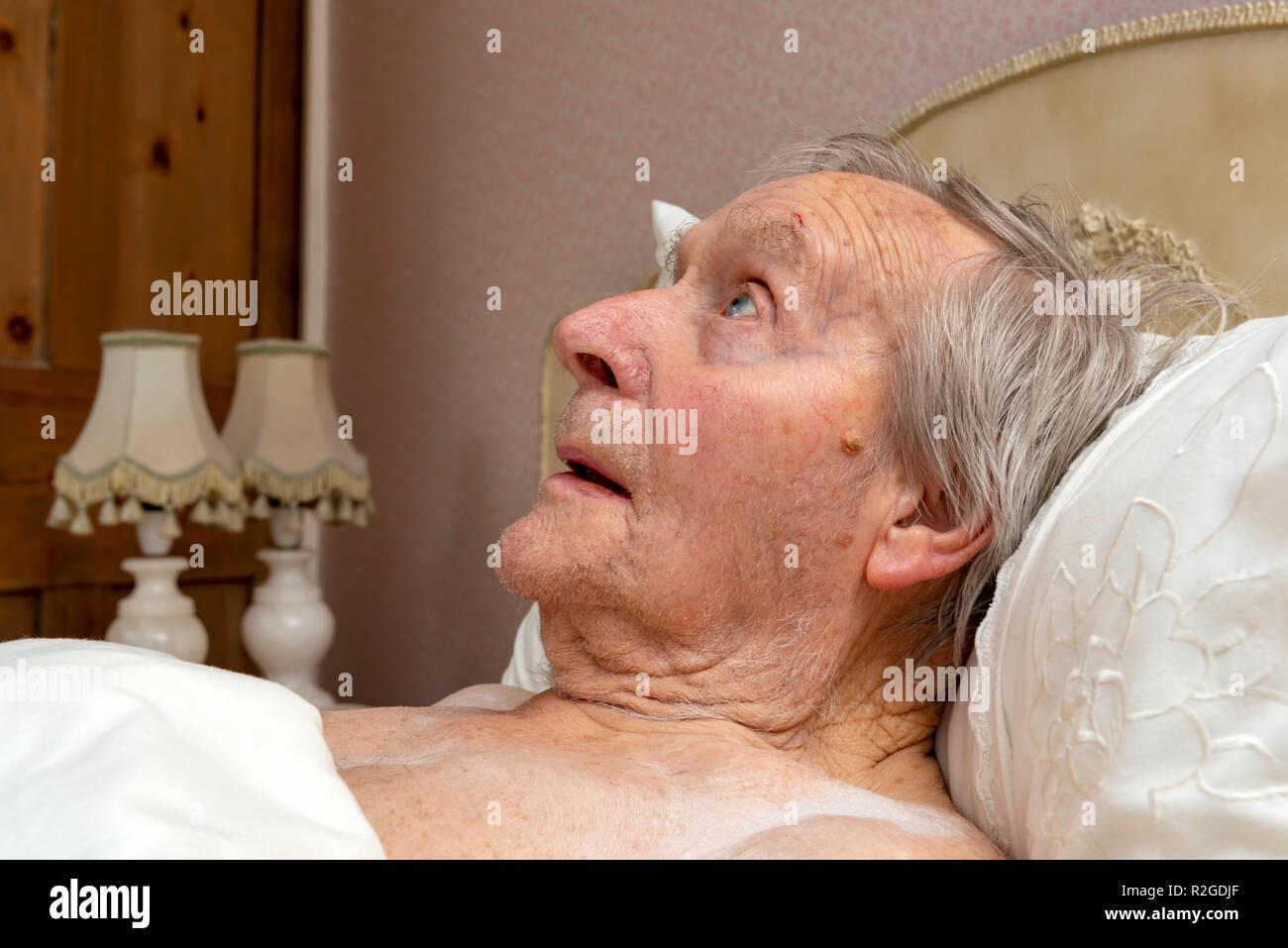 92-year old man unable to sleep - Stock Image