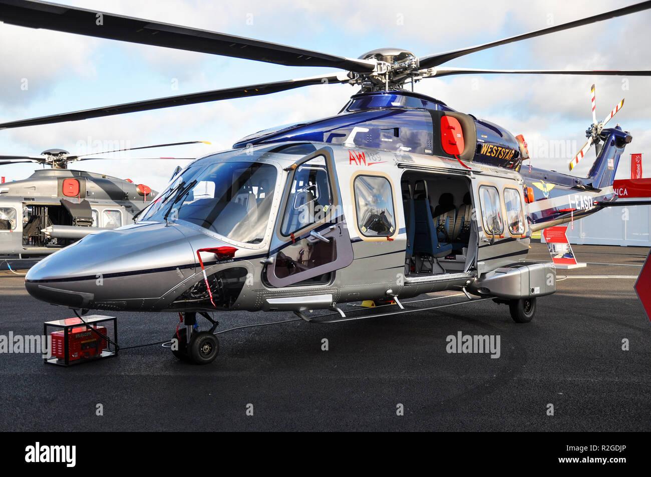 AgustaWestland AW189 twin engined medium lift helicopter manufactured by Leonardo (formerly AgustaWestland, merged into Leonardo Finmeccanica). Launch - Stock Image