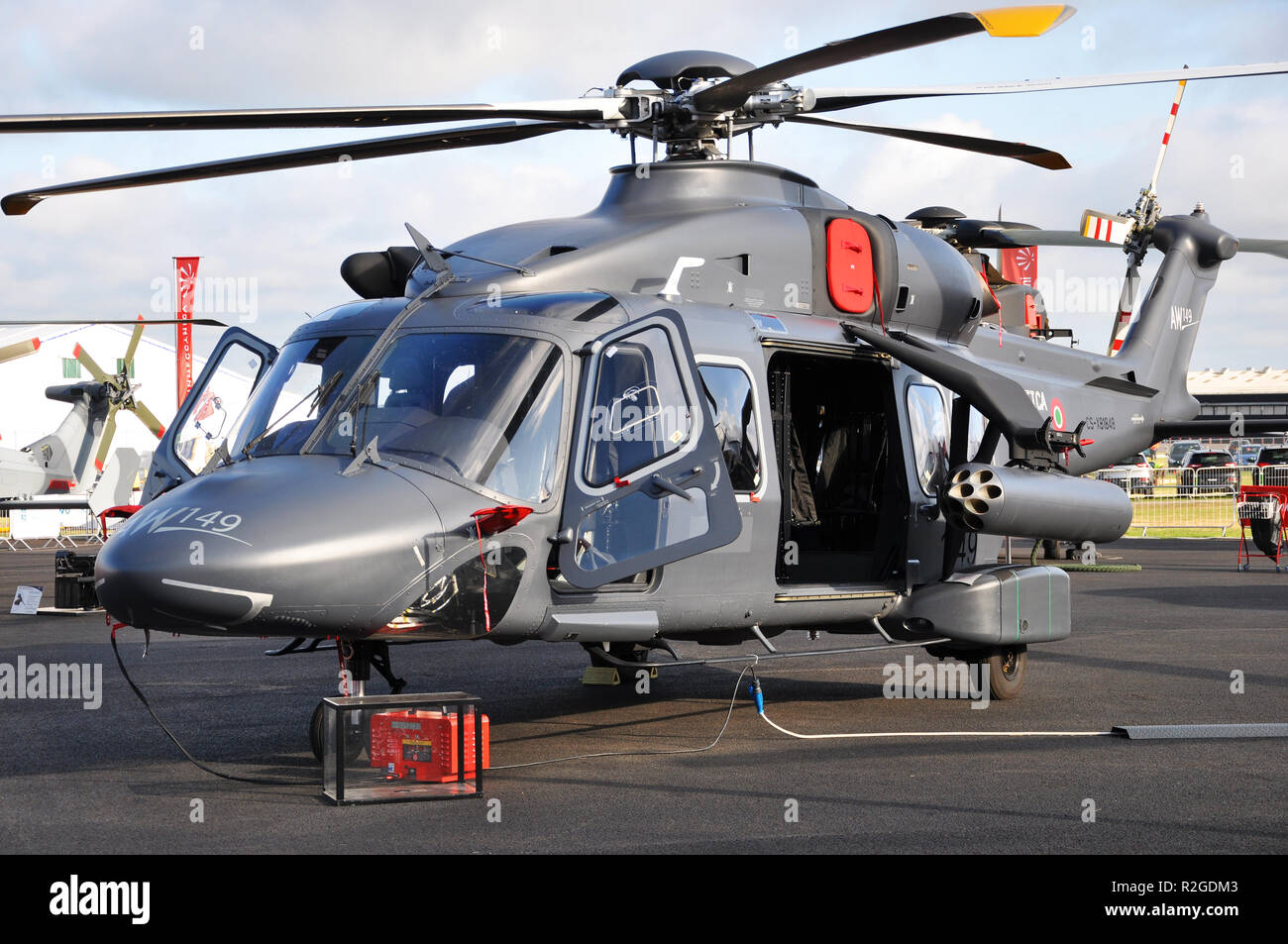 AgustaWestland AW149 is a medium-lift military helicopter developed by AgustaWestland, now Leonardo, from the AW139. At Farnborough trade show - Stock Image