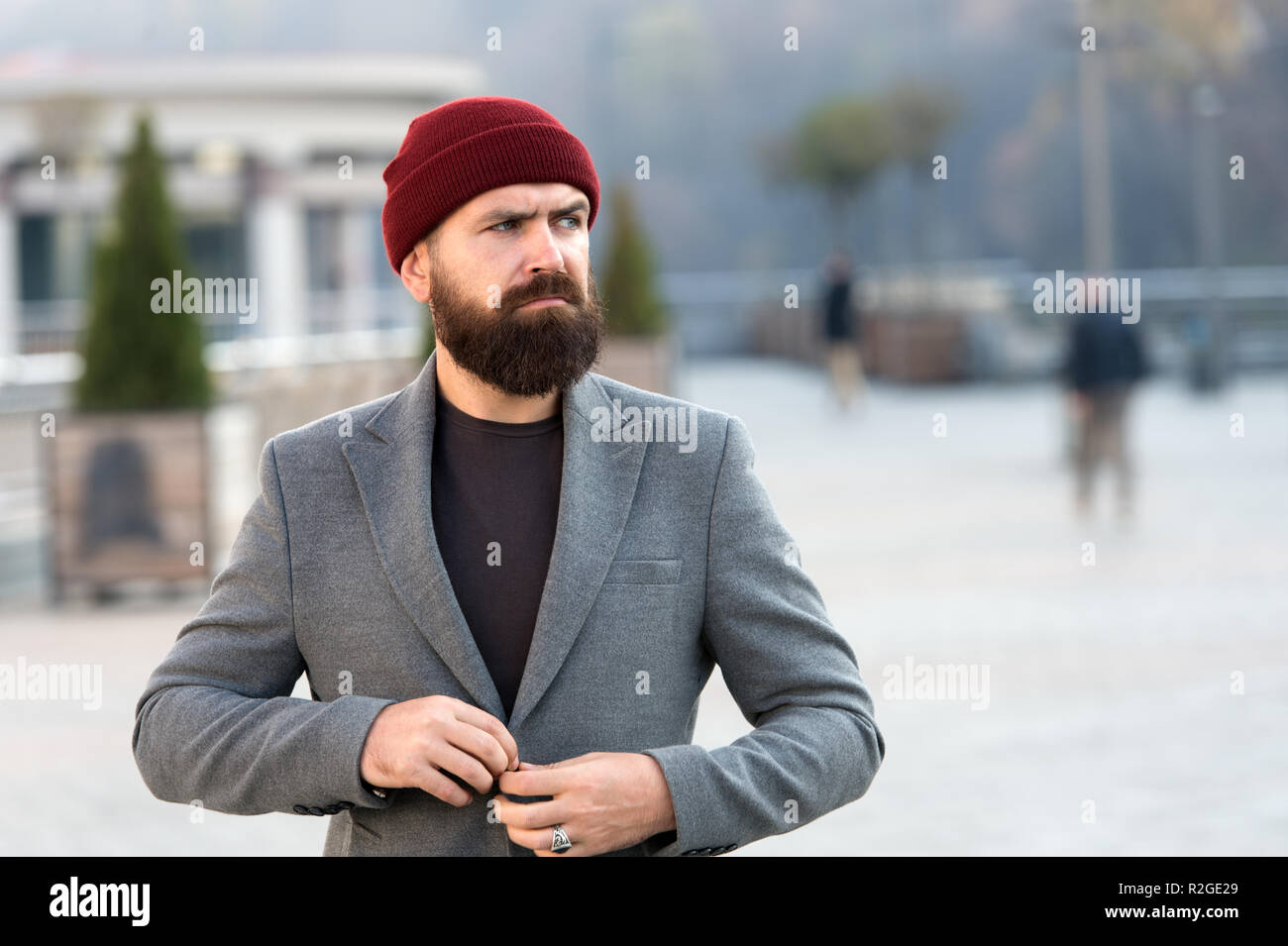 Outfit hat accessory. Hipster outfit. Stylish casual outfit for fall and  winter season. Menswear and male fashion concept. Man bearded hipster  stylish ... 113de8b046c7