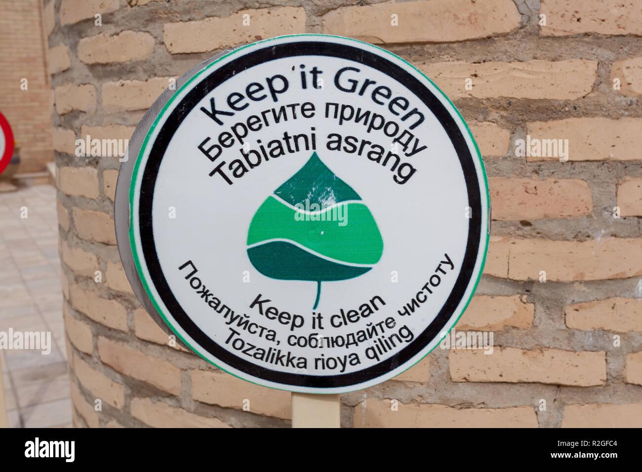 Keep it Green sign, Shahrisabz, Uzbekistan - Stock Image