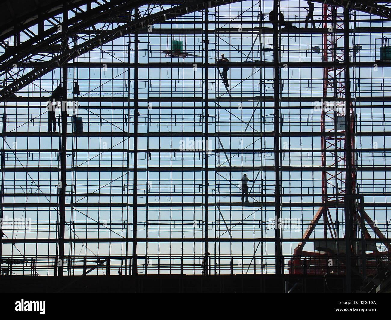 scaffolding acrobats i - Stock Image