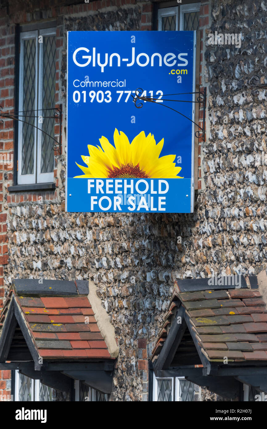 Glyn-Jones commercial property freehold for sale sign outside an old building in West Sussex, England, UK. - Stock Image