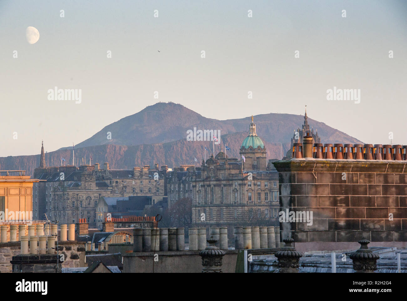 View of the Edinburgh city centre roof tops and the Bank of Scotland headquarters on the Mound, Edinburgh, Scotland. Stock Photo