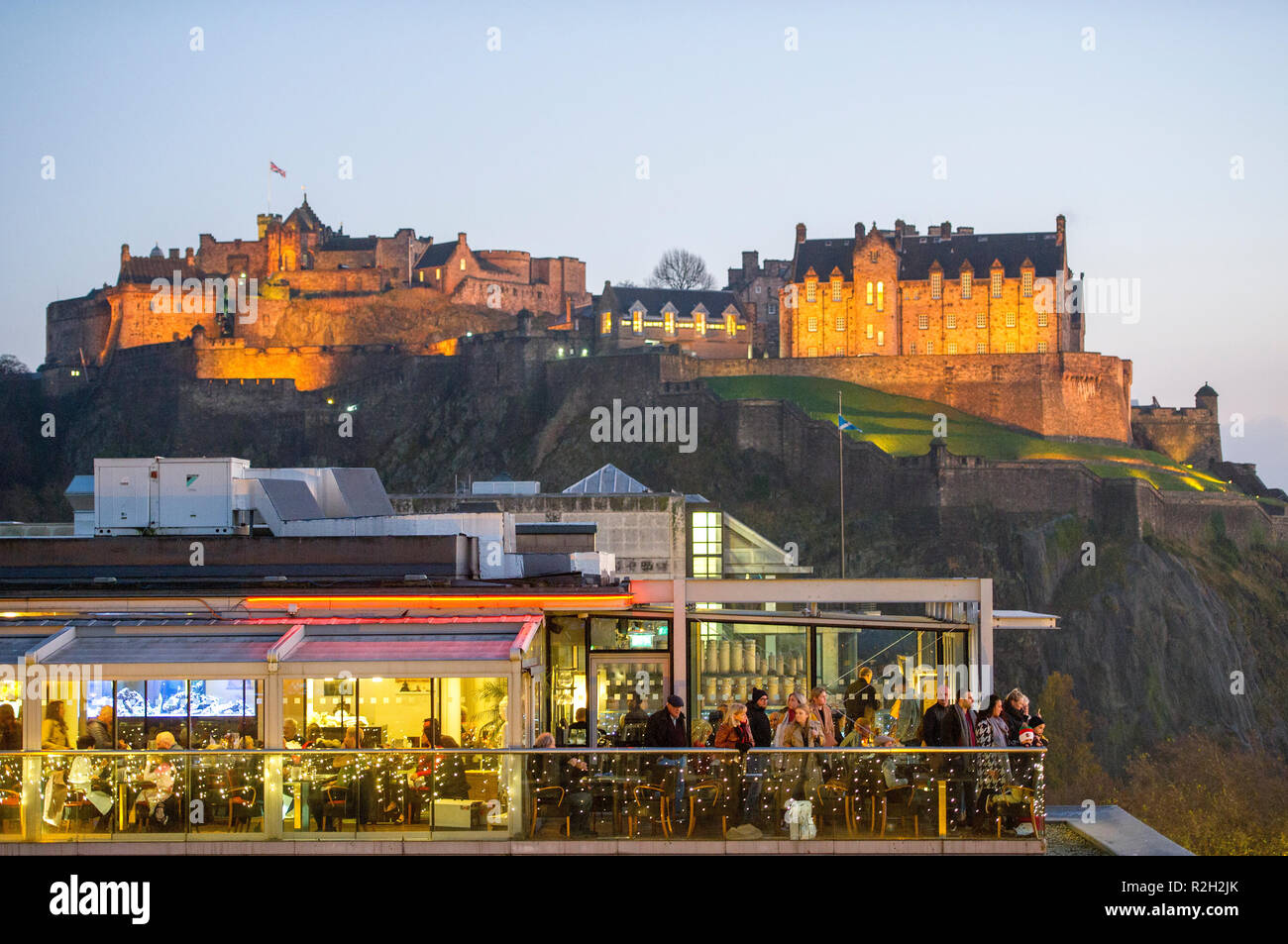 View of Edinburgh castle from George street. Stock Photo