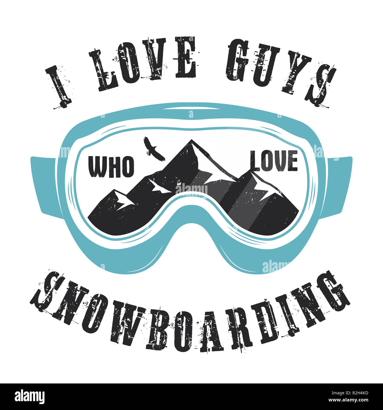 Mountain Snowboard Logo Snowboarder Glasses Emblem Winter Graphic