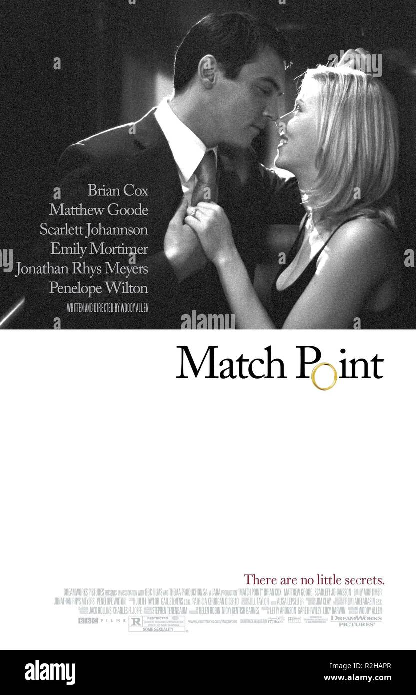 Match point  Year : 2004 USA Director : Woody Allen Jonathan Rhys-Meyers, Scarlett Johansson Movie poster (USA) - Stock Image