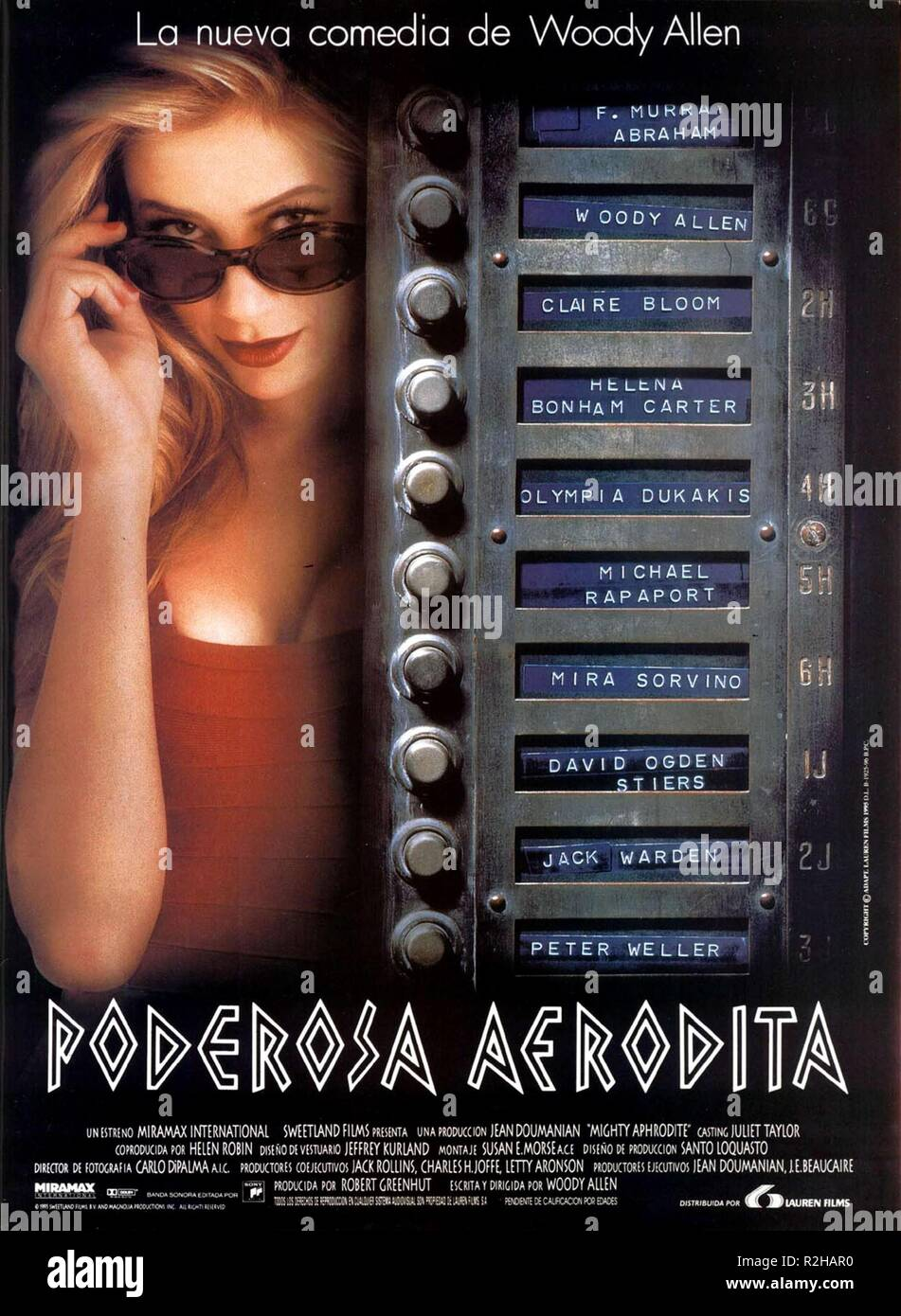 Mighty Aphrodite  Year : 1995 USA Director : Woody Allen Mira Sorvino Movie poster (Sp) - Stock Image