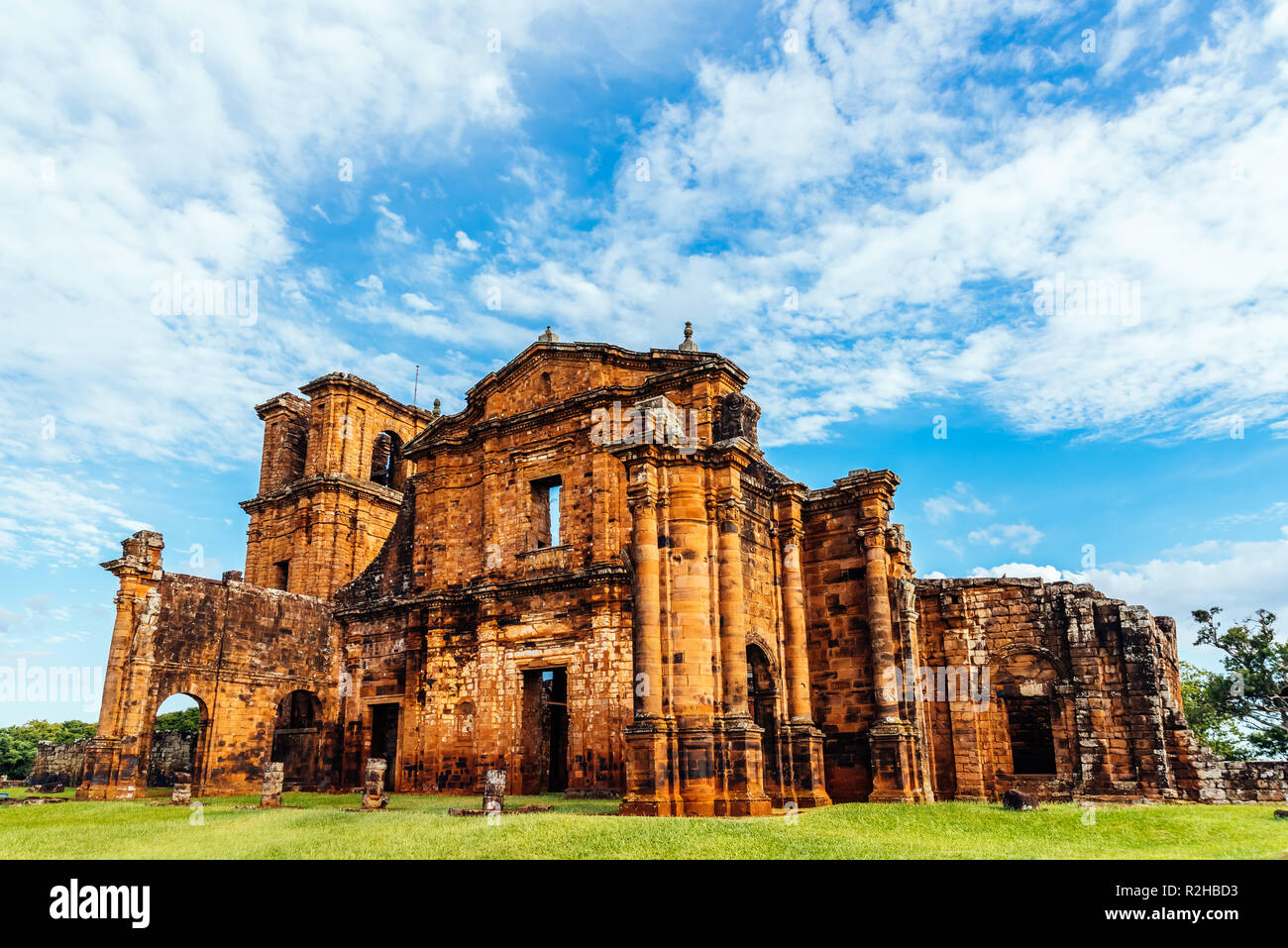 Ruins of the Cathedral of Saint Michael in the jesuit missions of the south of Brazil - Stock Image