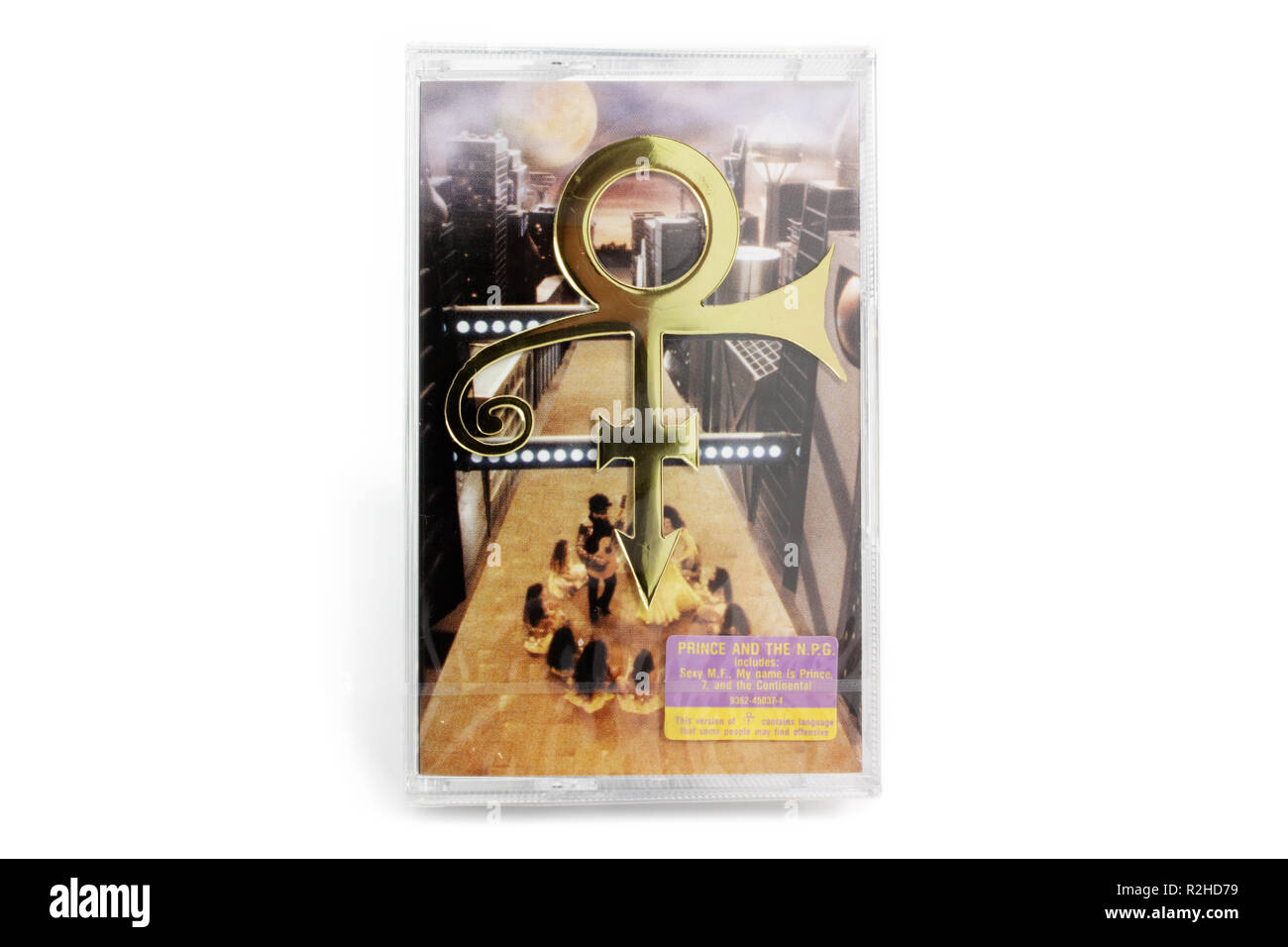 Prague, CZECH REPUBLIC - NOVEMBER 17, 2018: Genuine sealed audio cassette, a tape. Music album Love Symbol by Prince on white background - Stock Image