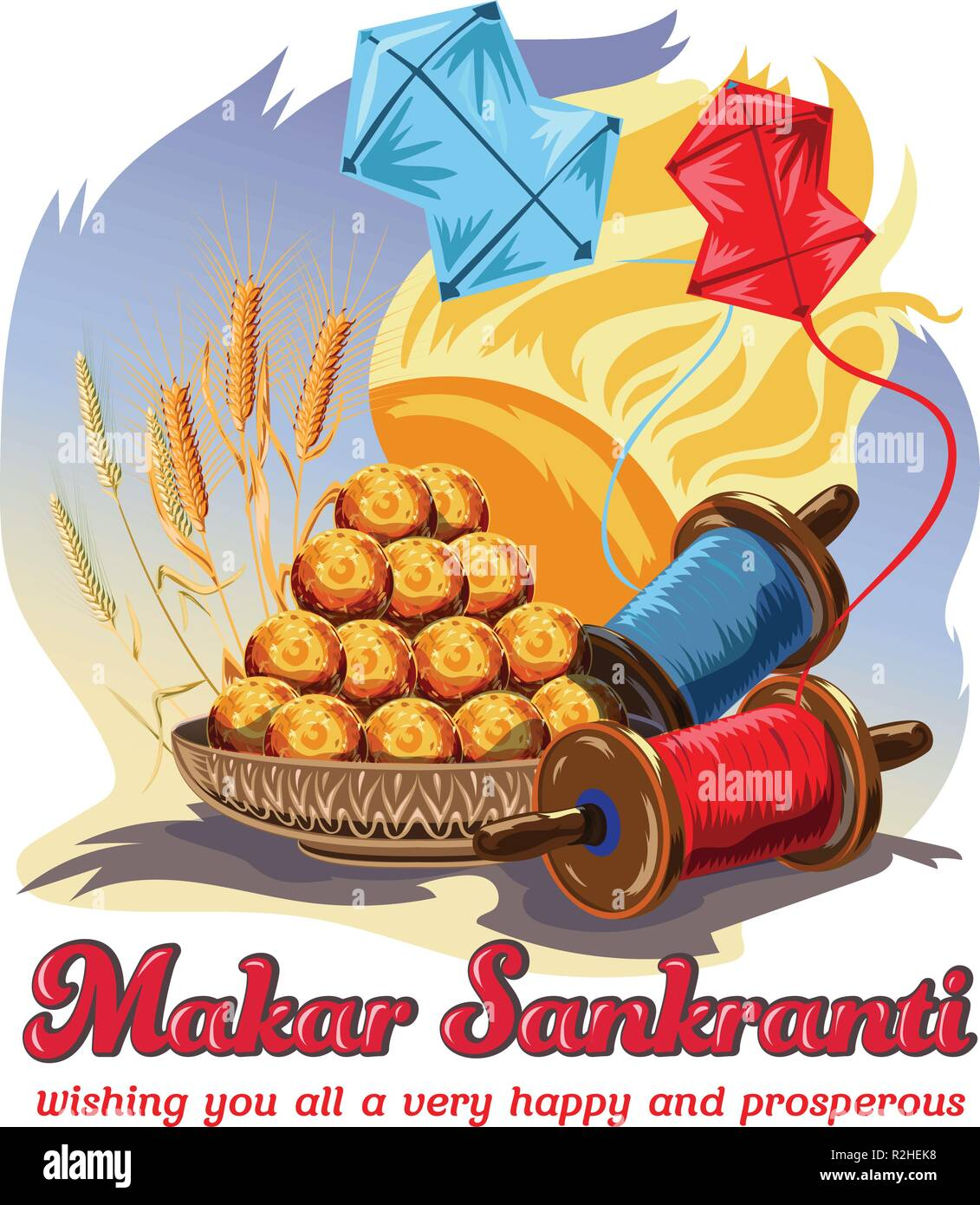 Vector Illustration Of Happy Makar Sankranti Holiday India Festival