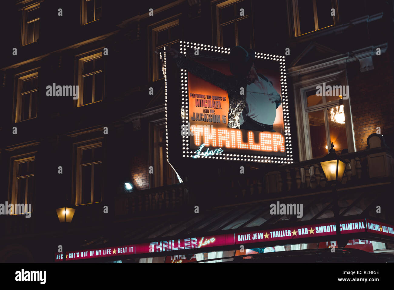 LONDON - NOVEMBER 14, 2018: Theatre at night on Shaftesbury Avenue in West End London - Stock Image