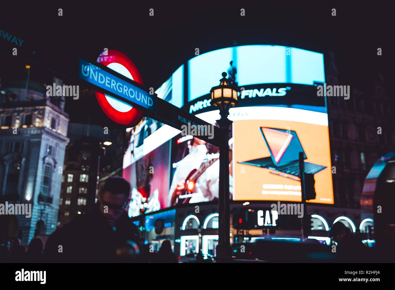 LONDON - NOVEMBER 14, 2018: Piccadilly Circus at night in London - Stock Image