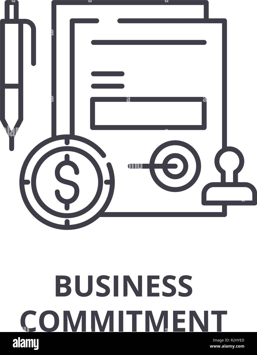 Business commitment line icon concept. Business commitment vector linear illustration, symbol, sign - Stock Image
